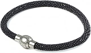 BeiChong Stingray Leather Bracelet with Stainless Steel Clasp Bangle