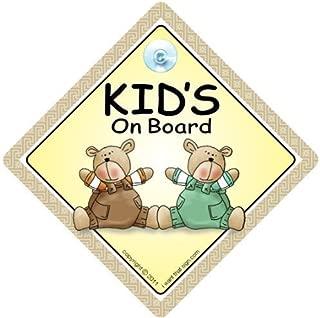 Kinder an Bord Autoschild, Saugnapf Auto Schild, Bord, Braun & Grün Bären, Baby A, Aufkleber, Stoßstange Aufkleber Baby, On Board Zeichen, Zeichen