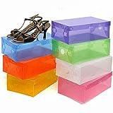 Generic - Caja de zapatos plegable vacía de plástico transparente de dureza para zapatos, organizador de zapatos, organizador de zapatos, multicolor