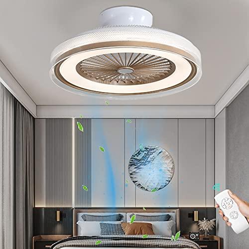 Luz Plafon LED Regulable Ventilador De Techo Con Luz Lámpara De Ventilador Invisible Luces De Ventilador De Mando A Distancia Silencioso Velocidad De Viento Ajustable Para Sala De Estar Dormitorio