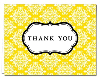 Thank You Cards – 36 Pack – Damask - Yellow– Unique Design – GRAY ENVELOPES INCLUDED – Blank Greeting Card – Glossy Cover Blank Inside – By Note Card Café… (B00FFJWVBC) | Amazon price tracker / tracking, Amazon price history charts, Amazon price watches, Amazon price drop alerts