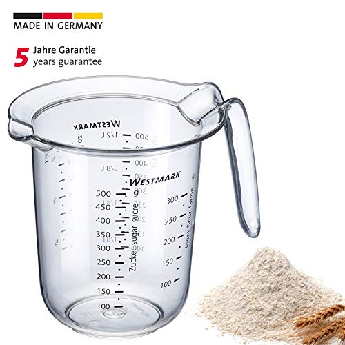 Westmark Messkanne mit mehrsprachigen Messskalen und verschiedenen Maßeinheiten, Füllvolumen: 0,5 Liter, Kunststoff, Transparent, 30642270