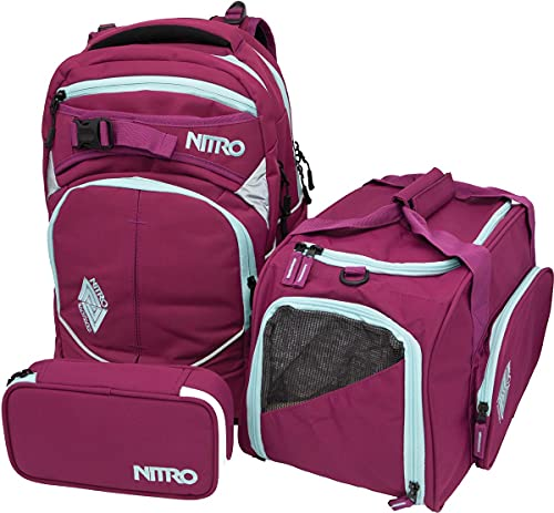 Nitro Superhero, Schulrucksackset, Rucksack, Backpack, abnehmbarer Hüftgurt, robuste Bodenplatte, Thermotasche, Laptopfach, Sporttasche & Pencil Case XL,Grateful Pink