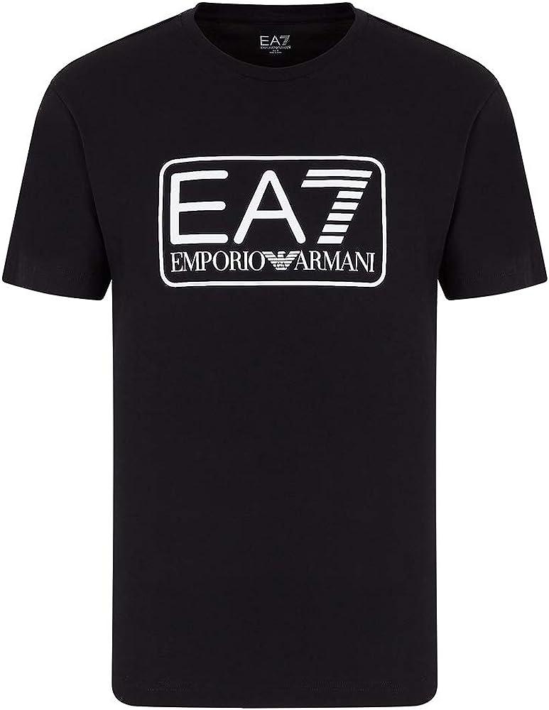 Emporio armani t shirt, maglietta a maniche corte per uomo,100% cotone, nera 8NPT10PJNQZ1554C
