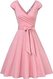 KOJOOIN Damen Kleid Vintage Abendkleider 50er V-Ausschnitt Rockabilly Retro Kleider Hepburn Stil CocktailkleidVerpackung MEHRWEG