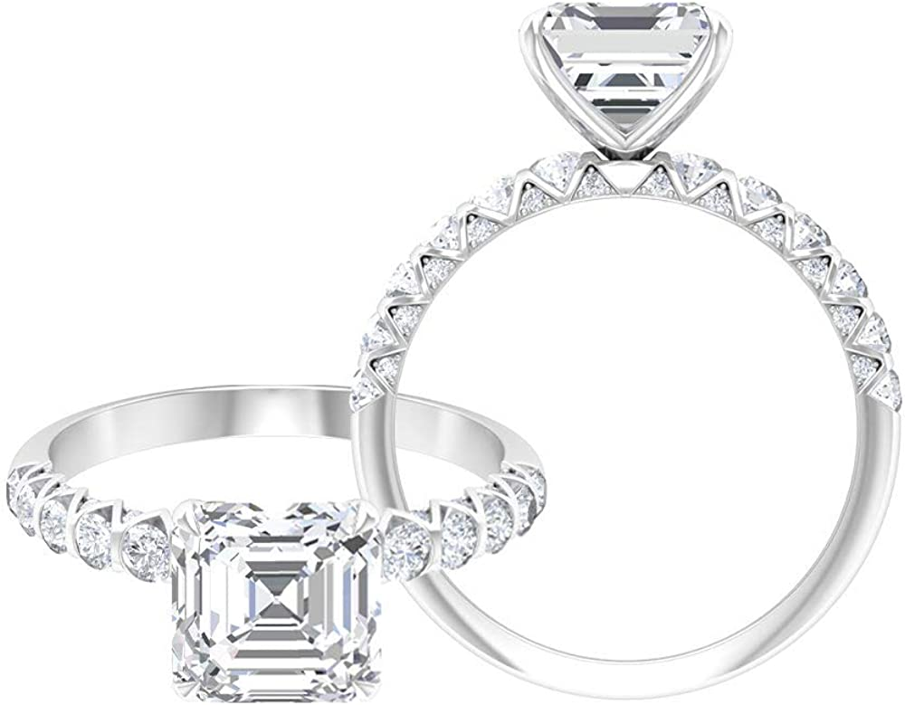 Rosec Jewels Solitaire Engagement Ring with 1.8 CT D-VSSI Moissanite, Side Stone Ring (AAA Quality),14K White Gold,Moissanite,Size:US 8.00