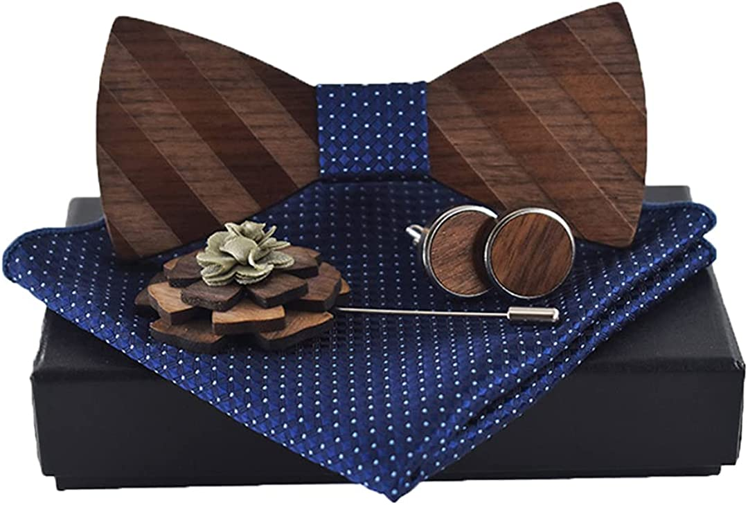 3d Stripe Pattern Wooden Bow Tie Set Cufflinks Boutonniere Handkerchief Business Cravat Party