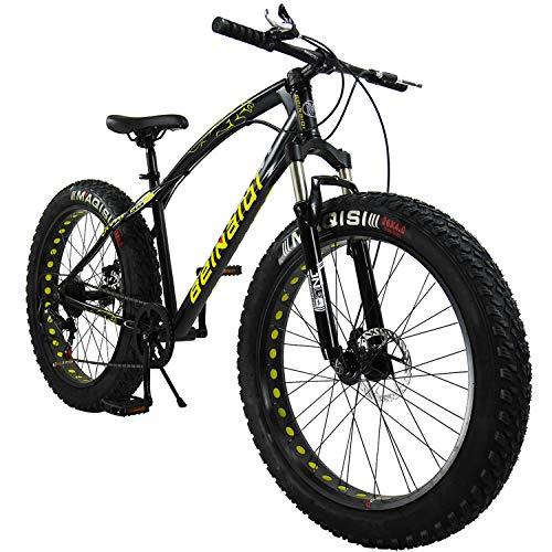 SAIGULA Fat Tire Bicycle Fat Mountain Bike 26 Inch 4.0' Tire BTM 7 Speed for Adult (FB1 Black)