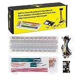 KEYESTUDIO Starter Kit con 3.3V 5V Breadboard Módulo de Alimentación, 140pcs Jumper Juego de Alambre, Placa de Prototipos (Protoboard) de 830 Pines, 65 pcs Cables Jumper para Arduino Mega2560 R3