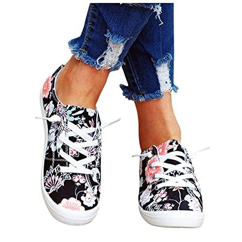 Xiangdanful Zapatillas de lona para mujer, de corte bajo, de lona, para verano, otoño, para mujer blanco 42