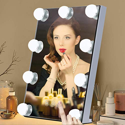 Tom-shine Hollywood Mirror with Light Lighted Vanity Makeup Mirror Cosmetic Mirror Touch Control 9 LED Bulbs 3 Colors Dimmable Light 10X Magnification(White)