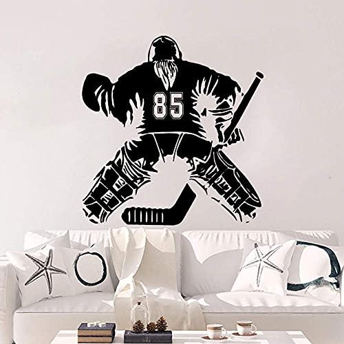 YMSHD Camiseta de Hockey Personalizada número Pegatina de Pared habitación de niñas guardería Deportes Hockey Pared calcomanía Dormitorio Vinilo decoración del hogar 58 cm de Alto x 56 cm de