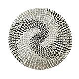 Shanji Round Woven Basket Wall Art Hanging Decoration Multipurpose Desktop Storage Tool for Home Kitchen Living Room