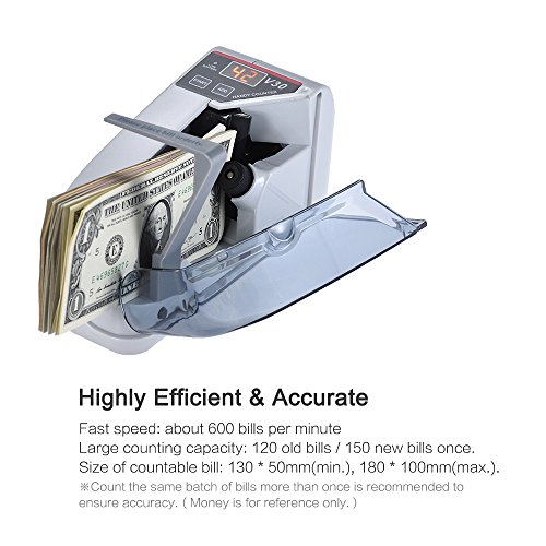 Decdeal Mini Handy Bill Cash Banknote Counter Money Currency Counting Machine AC or Battery Powered