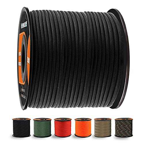 WEREWOLVES 650lb Paracord/Parachute Cord - 9 Strand Paracord Rope - 100', 200' Spools of Parachute Cord, Type III Paracord for Camping, Hiking and Survival (Black, 100 Feet)