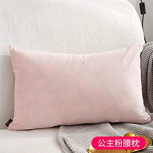 Nordic pillows Living room sofas Bedside pillows Chairs Office lumbar pillows Velvet pillowcases@Solid color - princess powder rectangle_45x45cm (pillowcase + pillow)