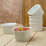 Clay Craft Basics - Ceramic Ramekin Bowl / Souffle Dish for Baking and Serving Puddings, custards or Other Desserts - Set of 6 - 180 ml (Square)