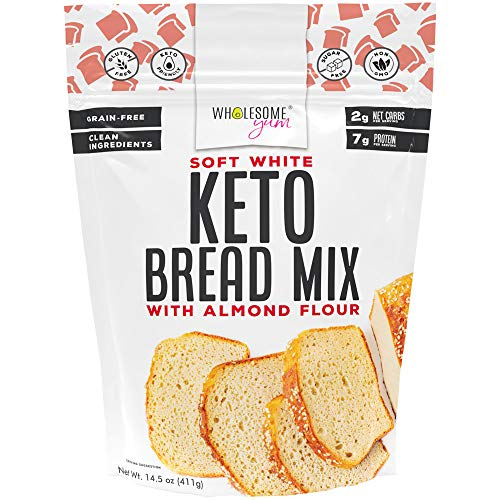 Wholesome Yum White Keto Bread Mix (2g Net Carbs) - Low Carb Almond Flour Bread Mix (14.5 oz) - Non GMO, Gluten-Free, Grain-Free