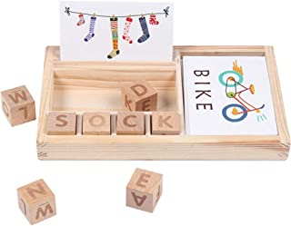 GoGlor Wooden Spelling Game for Kids Toddles, Alphabet Letters Match and Word Spell Game, 30 Spell Cards 6 Word Dice Word Jigsaw Puzzle English Learn Preschool Educational Toys