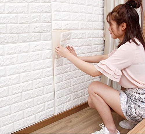 BOUGNAG 6 piezas 77 * 70cm 3D papel pintado blanco del ladrillo, paneles 3D de la pared,Papel Pintado, Ladrillo Pegatina Pared Autoadhesivo Panel Pared Impermeable