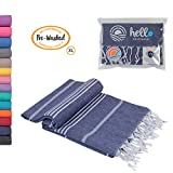"""Hello Peshtemal Turkish Bath Towel, 39"""" x 71"""", Ultra Soft and Super Absorbent Handwoven Cotton, Decorative, Beach, Pool, Gym, Picnic or Travel Use, Quick Dry Fabric, (Navy)"""