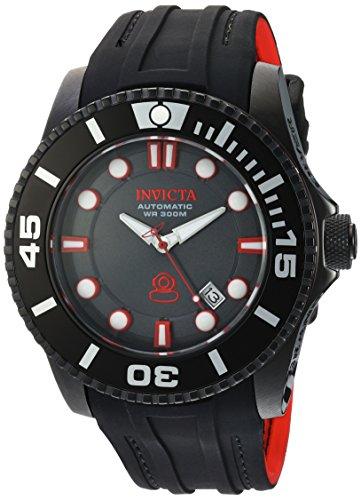 Invicta 20205 Men's Grand Diver Charcoal Dial Black & Red Silicone Strap Automatic Dive Watch