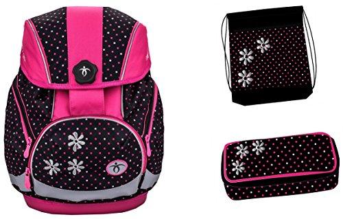Exclusiv*3tlg. Blume Schulranzen Set Schulrucksack ERGONOMISCHE Schultasche 40x27x19cm passend für Kinder zwischen 8-12 Jahre alt Jungen Mädchen EDEL