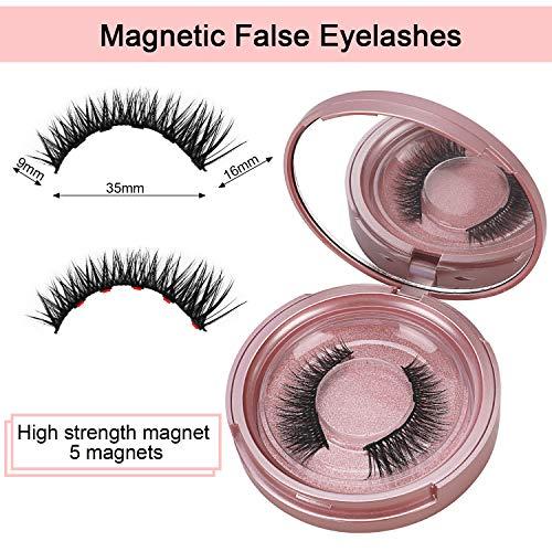 Winpok Pestañas Magnéticas, Magnético delineador Impermeable De Larga Duración, Delineador De Ojos De Larga Duración, Reutilizable Pestañas Falsas Magnéticas Lashes con 5 imanes