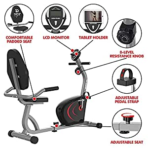 Pooboo Recumbent Exercise Bike Stationary for Seniors, Indoor Cycling Magnetic Bike for Home Workout, Quiet&Stable Bike for Exercise with Monitor, Phone Holder, Adjustable Seat&Resistance
