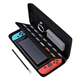 amCase Carrying Case for Nintendo Switch-14 Game Cartridge Holders with Zipper Protective Shell Travel Case (Black)