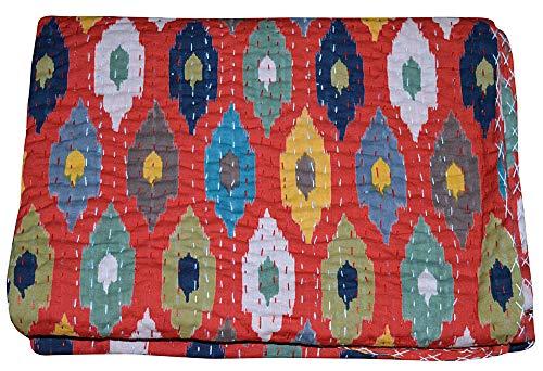 Majisacraft - Copriletto trapuntato in puro cotone con stampa Ikat, stile kantha, stile hippie boho,...