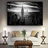 YIYEBAOFU DIY Pintar por números Pintura arquitectónica en Blanco y Negro en Manhattan, Ciudad de Nueva York, Pintura escandinava Pared Arte Sala Imagen Pintar por numero50x70cm(Sin Marco)