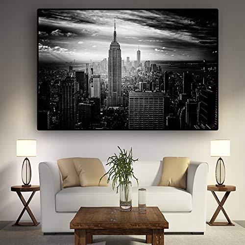 KWzEQ New York Schwarzweiss-Architekturplakatwandkunstbild-Wohnzimmerkunstwandmalerei,Rahmenlose Malerei,60x90cm