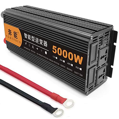 Inversor onda pura 2500W (pico 5000W), inversor de onda sinusoidal pura, convertidor de voltaje DC 12V / 24V a AC 220V / 240V, cargador de inversor Pantalla LED 2 enchufes Inversor de corriente,12V