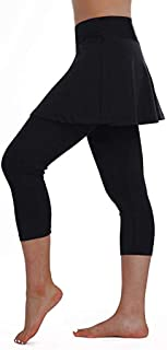 Dunacifa Womens Sport Skirt Solid Skort Leggings Tennis Pants Sports Fitness Cropped Culottes