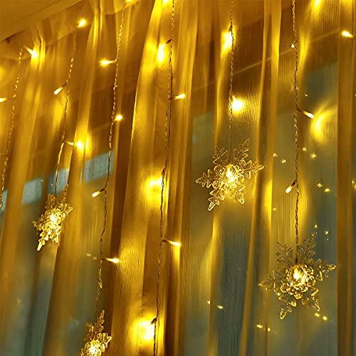 LED Lichtervorhang Innen Fensterbeleuchtung Lichterkette Weihnachtsbeleuchtung - Weihnachten Schneeflocke Vorhang Lichternetz Weihnacht Balkon Lichter Außen mit 8 Modi 94 Licht für Outdoor Party Deko