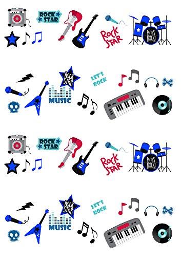 Kuchendekoration aus Esspapier, Design Rock-Star Musik Gitarre, 50 Bilder