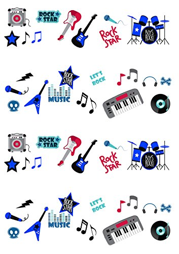 50 Stand Up Rock Star Music Guitar Boy Themed Wafer Paper Cake Toppers Decorations by Top That