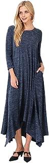 Tabeez Women's Casual Loose Asymmetrical Handkerchief-Hem Long Sleeve Heathered Knit Maxi Sweater Dress…