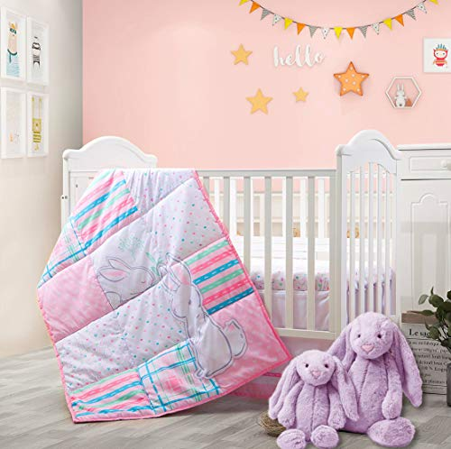 3 Piece Pink Bunny Baby Crib Bedding Set - Premium Baby Nursery Set Includes Crib Comforter, Fitted Sheet and Crib Skirt - Bunny with Floral Theme in Pink, Purple, Aqua, Blue and Grey