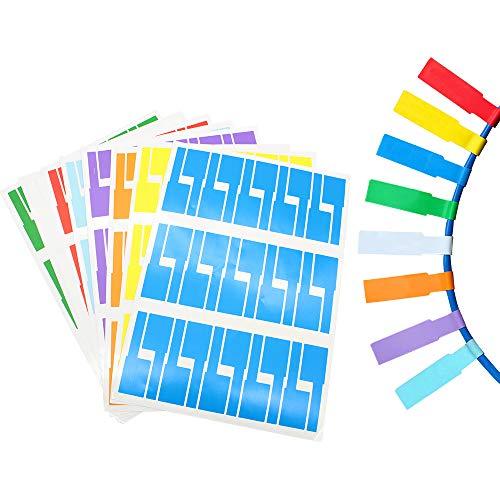 Mila-Amaz 480 Stück Mehrfarbig Kabeletiketten Selbstklebend Kabelbeschriftung für Laserdrucker, Wasserdicht Reißfest Haltbar bedruckbar, 8 Farben