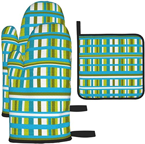 Turquoise Olive & Lime Green PlaidKitchen Gloves Heat Resistant Oven Mitts and Pot Holders 3Pcs for BBQ Cooking Baking