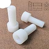10 – 50 pezzi M3 M4 M5 M6 M8 in nylon bianco a testa esagonale, viti in plastica, lunghezza 5 – 60 mm, 10 pezzi -M8 x 30 mm