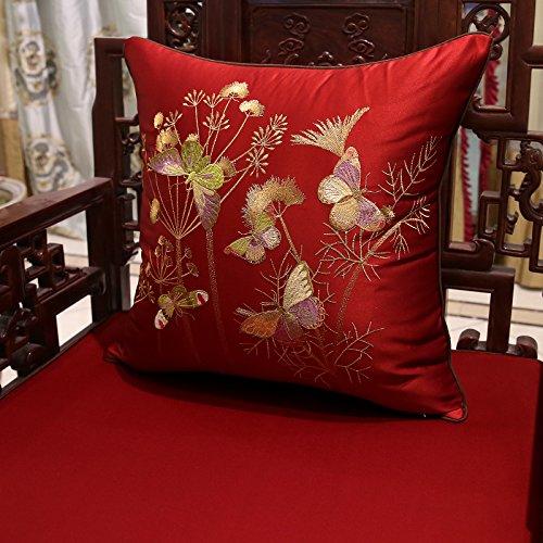 Baozengry Ledersofa Rückenpolster Kissen Stickerei Flower Bed Chair Taille Schlauchbeutel Auf Dem Auto Mit Core, 45 X 45 Cm (Mantel Inneren Kern), Bordeaux (Blumen)