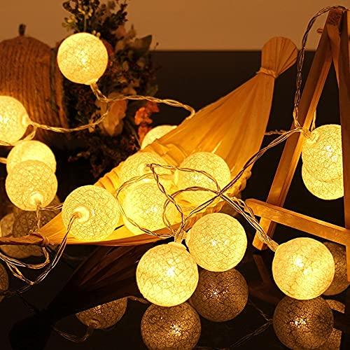 Bolas de algodón, funciona con pilas, 2 m, 10 ledes, cadena de luces decorativas para dormitorio, boda, fiesta, hogar, Navidad, Halloween, jardín (blanco cálido)