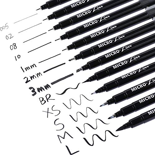 Dyvicl Hand Lettering Pens, Calligraphy Brush Pens Art Markers for Beginners Writing, Sketching, Drawing, Cartoon, Caricature, Illustration, Scrapbooking, Bullet Journaling, Black Ink Pen Set, 12 Size