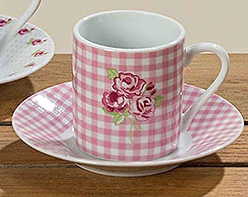 Espressotasse Lilly mit Untertasse Porzellan rosa/weiß Höhe 5,5 cm Mokkatasse Tasse