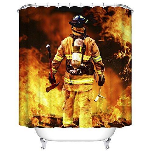 YEHO Art Gallery Bad Vorhang für die Dusche mit Feuerwehr Muster Stoff Wasserdicht Barthroom Duschvorhang mit Haken 48x72 Feuerwehrmannrot