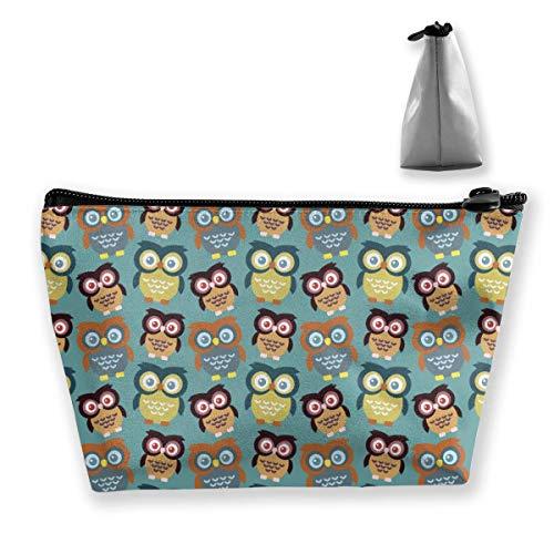 Bolsa de Maquillaje Resistente al Agua Duradera de Gran Capacidad de Dibujos Animados Big Eys Owls Almacenamiento Trapezoidal Bolsa de Viaje Lavado Estuche cosmético Portalápices Cremallera