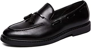 AiHua Huang Business Oxford for Men Formal Shoes Slip On Synthetic Leather with Tassels Wear-Resistant Work Soft Rubber Soles Round Toe (Color : Black, Size : 7.5 UK)
